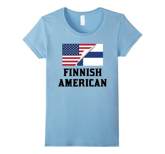 Women's Flags of Finland And USA Finnish American T-Shirt Small Baby Blue