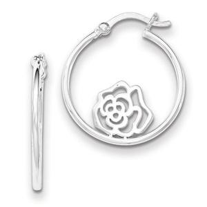 .925 Sterling Silver 26 MM Cut-Out Flower Hoop Earrings