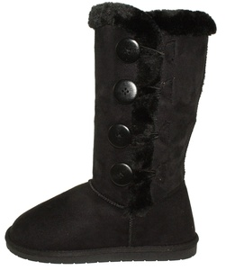 Forever Women's Anissa-3 Faux Suede Round-toe Mid-calf Flat Boots (7.5, Black)