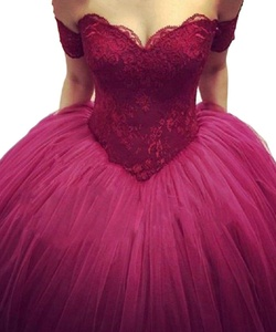 PinkMemory Ball Gown Off Shoulder Lace Bodice Long Prom Dress Burgundy Prom Dress Size22