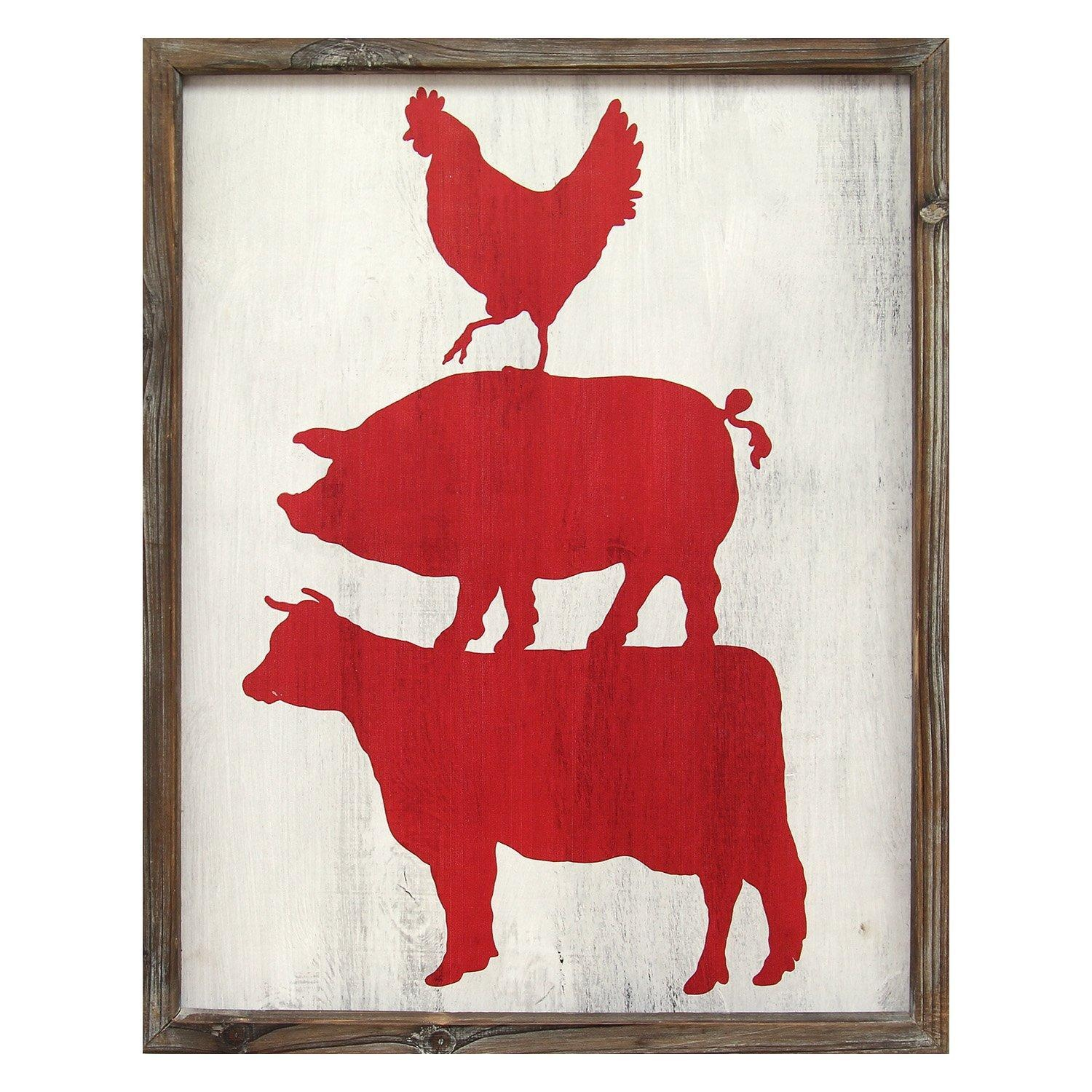 Stratton Home Decor S01990 Cow Pig & Rooster Wall Art