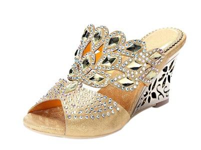 Women's Sparkle Crystal Stiletto Slingback Slip On Wedge Heels Party Dress Sandals Gold PU Size 5.5 EU35