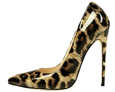 Maovii Women's SEXY High Heel Big Size Pointed Toe Animal-Print Court Shoes for Wedding Party Dress 9 M US Leopard Patent