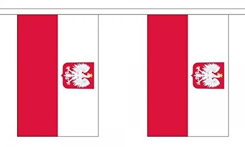Poland Eagle Bunting 9M Metre Length With 30 Flags 9X6 100% Woven Polyester by Poland Eagle