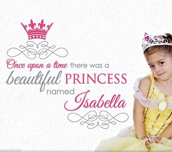Custom made color name princess crown vinyl wall decals decorative mural art girls room wall stickers decorative wallpaper decor 5551 -you choose name
