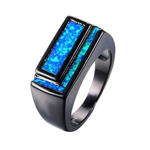 CHIC Geometric Design Blue Fire Opal Ring Vintage Black Gold Wedding Rings Classical Jewelry 9.0