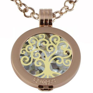 Quiges - Women Stainless Steel Necklace with 25mm Coin Locket and Coin Tree of Life/Flower of Life #840