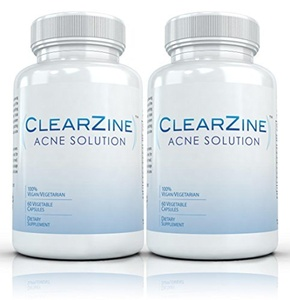 ClearZine (2 Bottles) - The Top Rated Acne Treatment Pill. Eliminates Blotchiness, Redness, Blackheads and Zits,Each bottle contains 60 capsules by Clearzine Acne Solution