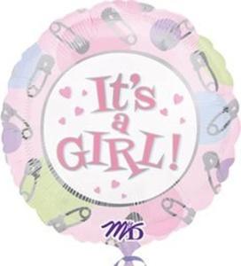 1 X 18 It's A Girl Dots & Pins Balloon by M-D