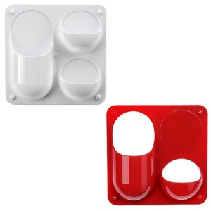 On My Desk Wall Bubbles 2-Piece Set Hanging Storage Bubble Shelves, Red and White, 8.3