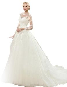 JoyVany See Through Back Long Sleeve Wedding Dress Vintage Long Wedding Gowns Ivory Size 22W