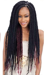 Amour Hair Netty Malibu Kinky Afro Twist Braid 4 Bundles In 1 Pack 60 Inch SUPER SIZE! #1-Just like Cuban Twist Braid-Double Strand Braid Hair