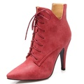 Fashion Heel Women's Stiletto Heel Pointed Toe Lace Up Ankle Bootie (9, grey)