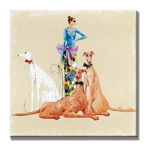 Charming Charm-Classical Lady And Her Dogs Hand Painted Oil Painting with Stretched Frame Wall Art 24 x 24 Inch