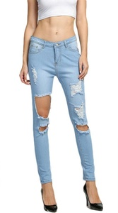 Nagoo Women's Distressed Destroyed Ripped Hole Long Denim Jeans (M, Light Blue)