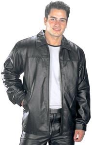USA Leather Classic Mens Black Leather Hip Length Jacket