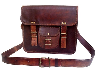 Messenger of Leather Men's Genuine Leather Small Tab Tablet Bag 7