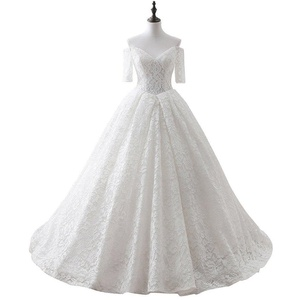 Favors Women's Off Shoulder Lace Ball Gown Wedding Dresses with Sleeves White 2