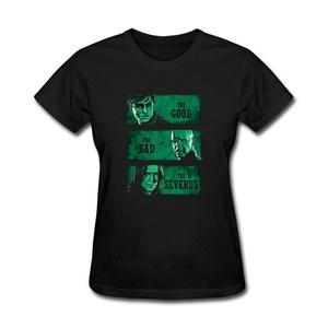 ZhiBo Women's The Good Bad and the Wizard Custom T-shirt Black Large Women