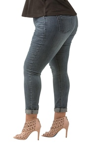 Poetic Justice Curvy Women's Plus Size Basic Blue Stretch Denim Skinny Jeans