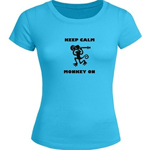 Keep Calm Monkey on Printed For Ladies Womens T-shirt Tee Outlet