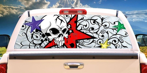 SKULL AND STARS�Rear Window Graphic back truck decal view thru vinyl