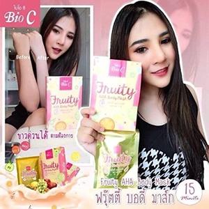 Bio C Fruity AHA Body Mask Co-Q10 Milk Extract Brightening Whitening Skin Care. [Get Free Tomato Facial Mask & Ceramine UV Line Ginkgo Plus Whitening Cream 8.50ml.]