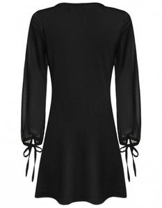 V-Neck Chiffon Sleeve Patchwork Jersey Dress medium black