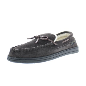 Gold Toe Premier Men's Benton Memory Foam Cow Suede Sherpa Lined Slip-On Moccasin Slipper