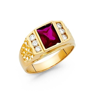 14K Solid Yellow Gold Purple Cubic Zirconia with Channel Set Side Stone Men Ring, Size 11.5