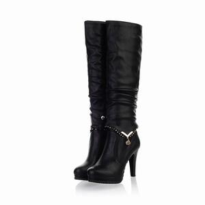 Women's Overknee Rounded Toe Platform Stiletto Multi-Use Ankle High Heel Boot for Fall Winter Black Size: EU Size 34 - US B(M) 4