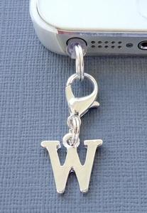 Alphabet Letter W cell phone Charm Anti Dust proof Plug ear cap cover jack C43