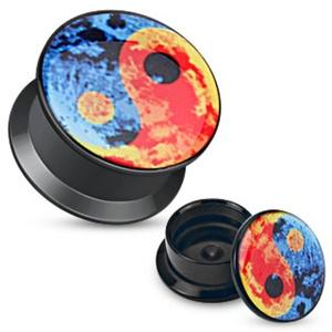 Colorful Yin Yang Print Black Acrylic Flat WildKlass Screw Fit Plug (Sold as a Pair)