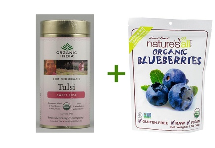Organic India Tulsi Loose Leaf Tea Canister Sweet Rose -- 3.5 oz, ( 3 PACK ), Nature's All Foods Organic Freeze-Dried Raw Blueberries -- 1.2 oz