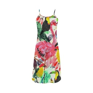 Abbie Miller Flamingo Custom Women's Polyester Casual Slip Dress Colorful Dress