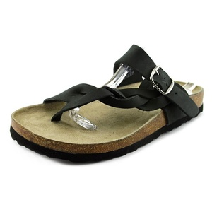 White Mountain Crawford Women Open Toe Leather Black Thong Sandal