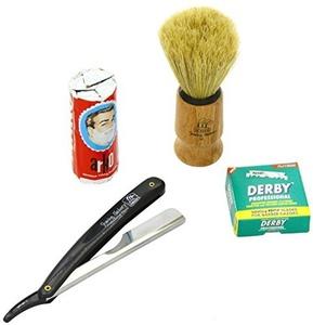 SF228 Shaving Factory Straight Razor (Black), Shaving Factory Hand Made Shaving Brush, 100 Derby Professional Single Edge Razor Blades and Arko Shaving Soap Stick by Shaving Factory