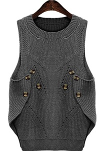 Season Show Women's Side Split Button Closure Wool Knit Sweater Vest Grey US 14-US 16