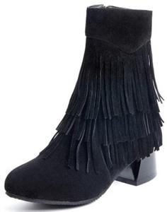 Summerwhisper Women's Sexy Fringe Round Toe Side Zipper Booties Block Low Heel Short Boots Black 7.5 B(M) US