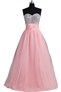Gorgeous Bridal Floor Length Beaded Princess Party Junior Prom Gown Bandage- US Size 14