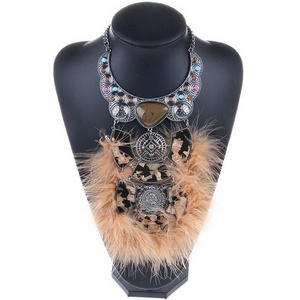 ARICO Feather Maxi Luxury Jewelry Chain Resin Statement Collar Choker Necklaces Pendants accessories