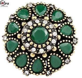 Dudee Jewelry Retro Flower Crystal Wedding Ring Vintage Look Round Plating Gold And Silver Mosaic Green Resin Turkey Jewelry