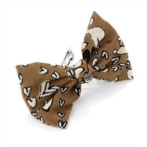 Brown Heart Print Fabric Bow Hair Barrette/Clip AJ24326 by Hair Barrettes