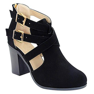 Women's Ankle Boot Western Riding Strappy Chunky Heel Bootie (Black Nubuck-V)