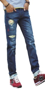 Plaid&Plain Men's Retro Classic Washed Zipper Skinny Destroyed Ripped Jeans