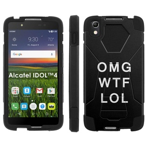 Alcatel One Touch IDOL 4 [Nitro 4/49] Phone Cover, OMG WTF LOL - Black Hexo Hybrid Armor Phone Case for Alcatel One Touch IDOL 4 [Nitro 4/49]