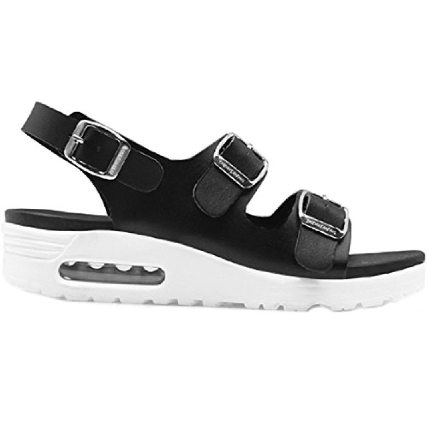 New Paperplanes Air Cushion Women Taller Height Casual Sandals Comfort Shoes (6, Black)