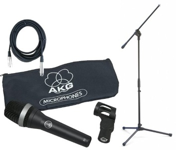 AKG D5 Supercardioid Microphone Bundle w/Mic Clip, Bag, Boom Stand, and 20' XLR Mic Cable