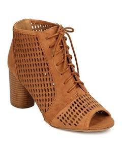 Qupid FF34 Women Faux Suede Peep Toe Lace Up Perforated Cylinder Heel Bootie - Camel (Size: 9.0)