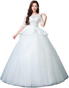 obqoo 2017 New Vintage Jewel Lace Pearl Half Sleeves Ruffle Ball Gown Wedding Dress Ivory